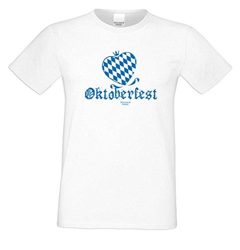 Oktoberfest Herz ::: Herren T-Shirt mit super Wiesn-Motiv Trachtenshirt Outfit für Männer Tolles Geschenk Farbe: weiss Weiß