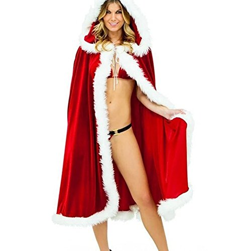 BADASS SHARKS Rote Frauen Frau Weihnachtsmann Weihnachtskostüm Mantel mit Kapuze Weihnachtswolljacke Samt Kapuzen Kap Umhang (1.5M)