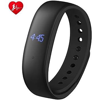Mpow Fitness Tracker mit Herzfrequenzmesser,IP67 Spritzfest Smart Armbänder mit Schrittzähler,Überwachung der Schlafqualität,Lautlose Alarme,GPS-Routenverfolgung mit magnetischem Ladekabel.