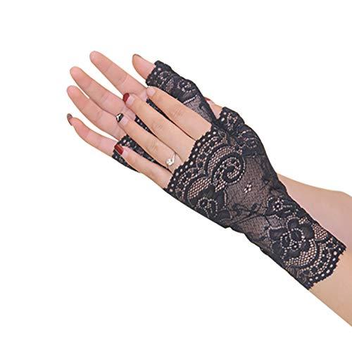 KTENME Frühlings- und Sommer-Spitzen-Handschuhe für Damen, Lange Halbfinger, Braut-Handschuhe, rutschfest, dünn, atmungsaktiv, UV-Schutz, Hochzeit, Fahren, Outdoor-Handschuhe Black-b -