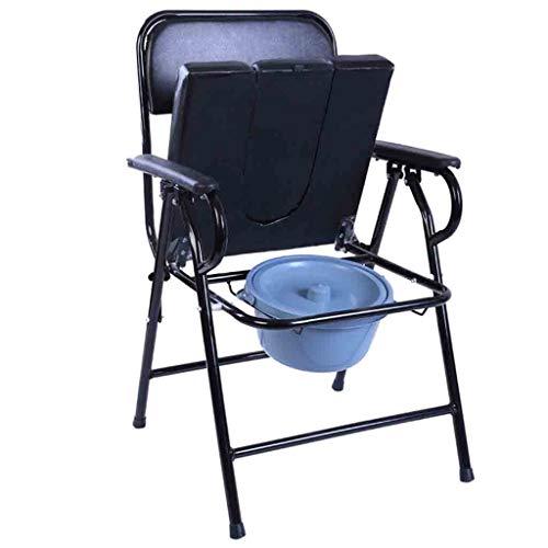 KPL-Kommode Deluxe Bariatrischer Toilettensitz Nachtkommode Töpfchen mit Eimer/Deckel/gepolstertem Kissen Extra breit Sicherheitsstahlrahmen für Senioren, Behinderte -