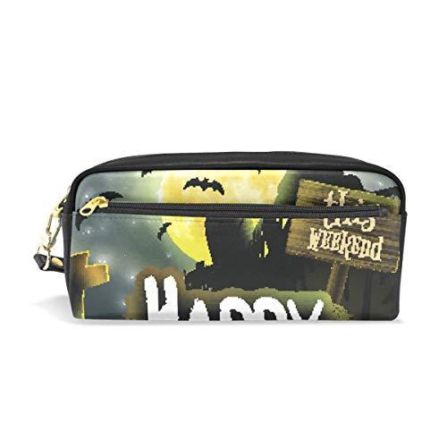 Federmäppchen mit Reißverschluss, große Make-up-Tasche für Halloween, Nacht, Bleistiftbox für Jungen und Mädchen