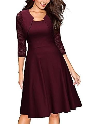 Miusol? Damen Abendkleid Elegant Cocktailkleid Vintage Kleider 3/4 Arm mit Spitzen Knielang Party Kleid Weinrot