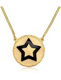 Collar con colgante en forma de estrella Moda Mentals de plata de ley 925 con chapado de oro de 24 quilates, estilo vintage de oro de moneda, 43 x 5 cm