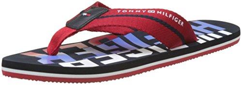Tommy Hilfiger Herren Bold Beach Sandal Zehentrenner, Rot (Tango Red 611), 42 EU