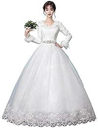 Vestido de novia de Invierno, cálido, Blanco, de Manga Larga, Grueso, Simple, Vestido Estilo Hepburn Ailin Home…