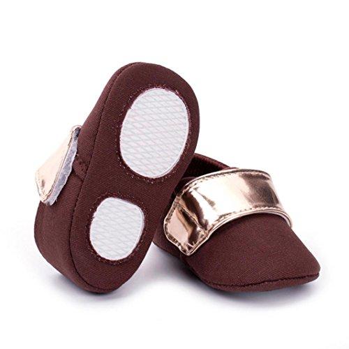 Clode® Bébé bambin chaussures Sneaker anti-dérapant doux unique lacets chaussures (0~ 6 mois, Rose vif) café