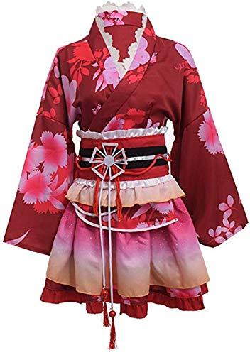Double Villages Japanischen Stil Kimono Bademantel Kleid Anime Cosplay YUKATA Serie Japanischen Sommer Nette Mädchen Anime Cosplay Kostüme (Rot) -