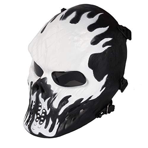 Airsoft Maske mit Schutzbrille Halloween Skull Schutzmaske Taktische Full Face fur Paintball Softair CS Partyspiel Wildfire & Grau Linsen
