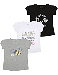 MINNOW Girls Regular Fit Printed Cotton T-Shirt(Pack of 3)