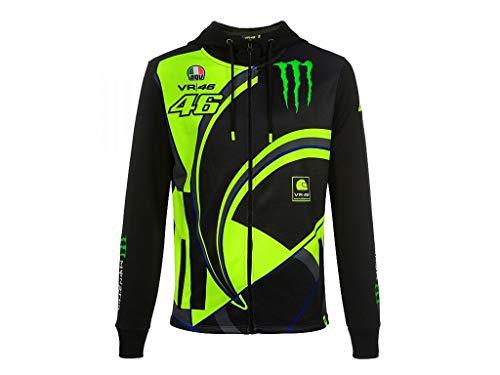 Valentino Rossi Replik-Monster Dual, Full Zip Hoodie Herren, Schwarz, XL (Monster Hoodies Für Männer)