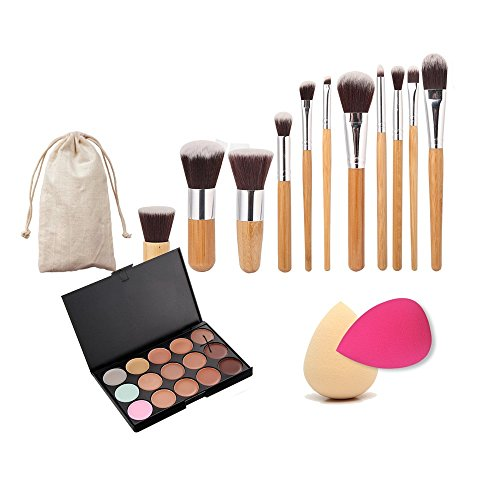 Generic 11 X Makeup Brush + 15-Color Concealer Palette + 2 X Cosmetic Sponge-54003210Mg