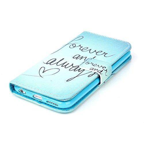 iPhone 6S Wallet Case Cover - Felfy Ultra Slim Cuir Coque Pour Apple iPhone 6 / 6S 4.7 Zoll Flip Retro Bleu Papillon Motif PU Étui Portefeuille Housse Etui Holster + 1x Blue Touch Stylus + 1x Strass B Forever and Always