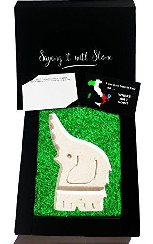 Glücklicher Elefant - Handgemacht in Italien - Elegante Geschenkbox und Nachrichtenkarte/Message Card in Englisch Inbegriffen - Altes und schönes italienisches Kalkstein mit Fragmenten aus Fossil - Symbol der Familienliebe, Stärke, Vertrauen, Geduld und Stolz - Elefantengeschenke - Elefantenliebhaber - einzigartiges Geschenk für neugeborenes neuer job neue wohnung oma opa onkel papa partner patentante ruhestand reise renteneintritt mädchen junge 60 geburtstag mutter Tierarzt elephant (Geschichte Schöne Mädchen)