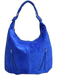 b75583e5a7339 AMBRA Moda Damen Ledertasche Shopper Wildleder Handtasche Schultertasche  Beuteltasche Hobo Tasche…