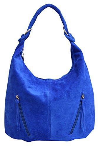 AMBRA Moda Damen Ledertasche Shopper Wildleder Handtasche Schultertasche Beuteltasche Hobo Tasche Groß WL822 (Royalblau)