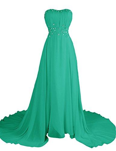 Dresstells, Robe de soirée Robe de cérémonie Robe de gala emperlée plissée bustier en cœur traîne mi-longue Vert
