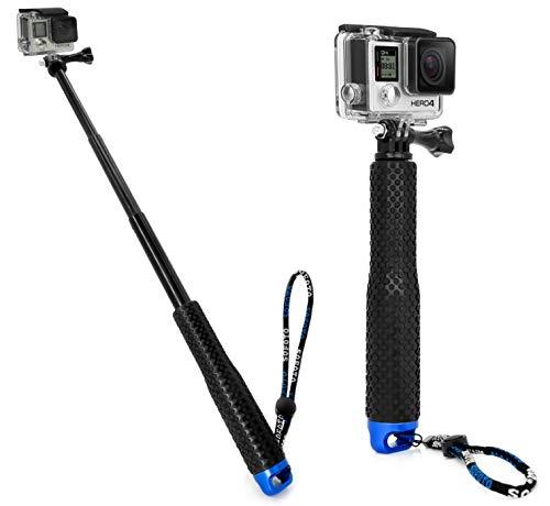 MyGadget Action Kamera Teleskopstange Selfie Stick (wasserdicht) - Zubehör Stange mit Handgriff geeignet für GoPro Hero 7 6 5 4 3+ 3, Xiaomi Yi 4K - Blau -
