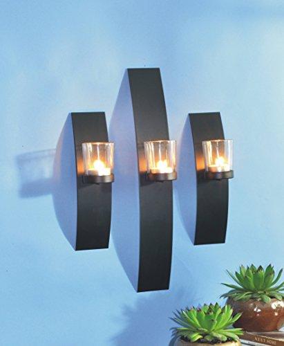 VARILANDO® Wand-Kerzenhalter aus Metall und Glas im 3er-Set für Teelichter Teelicht-Halter - Kerze-halter-wand-dekoration