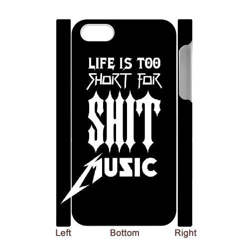 3D Bloomingbluerose Metallica IPhone 4/4s Case Life is too Short for Shit.metallica Quotes, {White}