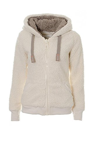 Vilier Veste à capuche en polaire douce pour femme Couleur taupe - Ecru - M
