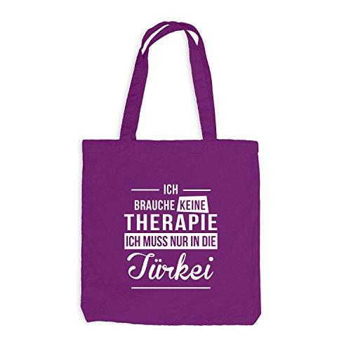 Jutebeutel - Ich Brauche Keine Therapie Türkei - Therapy Urlaub Turkey Magenta