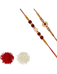 Aheli Pack Of 2 Pearl Rudraksha Wooden Ball in AD Ring Rakhi With Roli Chawal Tilak For Men Boys (R2P56)