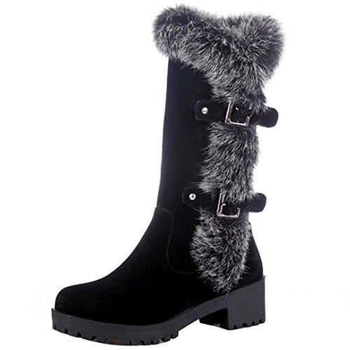 Mit Fell Stiefel Gefüttert (AIYOUMEI Damen Halbschaft Stiefel mit Fell und Schnalle Bequem Modern Winter Warm Mid Calf Boots)