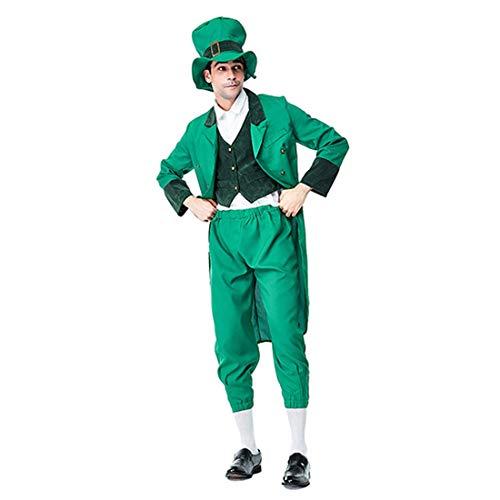 HOOLAZA Green Men Saint Patricks Day Kostüm Irish Leprechaun 4 Stück Kostüm - Saint Patricks Day Kostüm