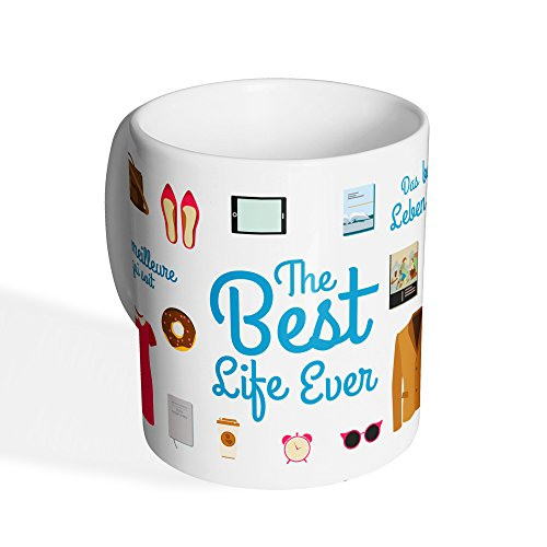 "SHEEP NUMBER ONE Tasse Kaffeetasse ""Life"" / The Best LIVE Ever / 340 ML/JW.ORG"