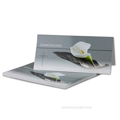 25 Stück Danksagungs-Trauerkarte Serie: Calla I Hochglanz I Din Lang 21 x 19,8 cm (21 x 9,9 cm) I Doppelkarte - Faltkarte