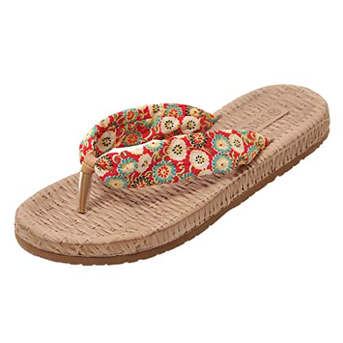 Epig Womens Blumendruck Clip Toe Flip Flop Sandalen flach mit Strand Schuhe rutschfeste Durabel Hausschuhe