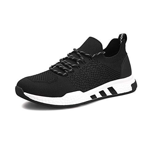 YCSD Herren Tennisschuhe Slip-on-Strick Walking Laufen Gym Sneakers (Farbe : SCHWARZ, größe : EU42/UK8.5/CN43)