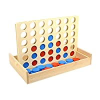 TOYMYTOY Four in A Row Wooden Game Classic Convertible Board Game Toys for Family Have Fun
