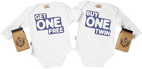 SR - estuche de presentación - Buy One Twin, Get One Free body gemelos bebé - ropa para gemelos bebé - regalo para gemelos bebé, Blanco, 12-18 meses