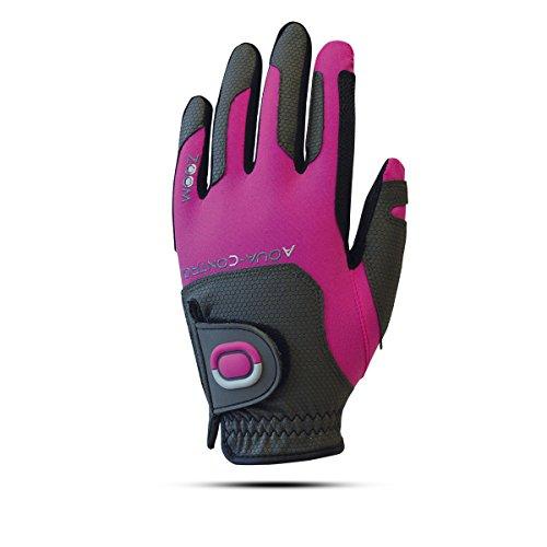 ZOOM Aqua Control Damen Regen Golfhandschuh - Linkshand für Rechtshänder (Charcoal/Fuchsia) -