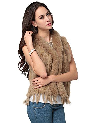 Ferand Echtfell-Damenweste �?Pelzweste, Pelzjacke, Felljacke für Frauen �?Hält Sie Warm bei kalten Temperaturen �?Fällt Überall Positiv Auf, Komplimente garantiert �?100% echtes Kaninchenfell Braun