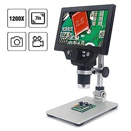 7 Pollici LCD Display 1200X Microscopio Digitale Regolabile con Batteria con 8 Luci a LED per Dimostrazione Didattica…