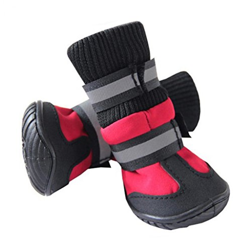 4kleine Large Pet Puppy Dog Wasserdicht Schuhe Socken rutschsicheren Regen Stiefel–hearbeauty (Kleine Puppy Stiefel)