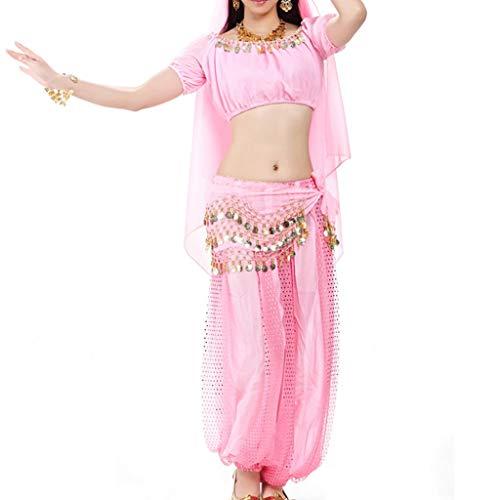 DANCER 5 PC-Berufsfrauen-Bauchtanz-Inder-Tanz-Leistungs-Kostümsätze, Hauptkette + Schleier + Kurze Hülse + Taillenkette + Blütenhosen (Farbe : Rosa, größe : ONE Size)
