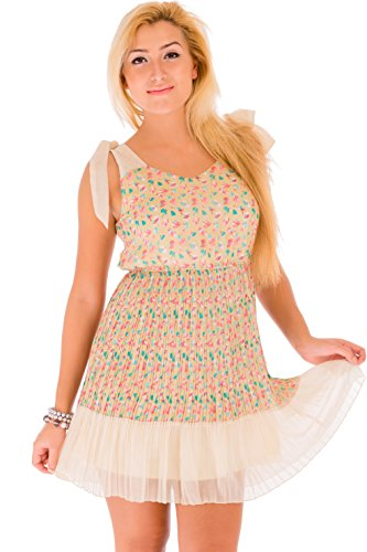 Women's Casual Sleeveless Chiffon Floral Printed A Line Pleated Contrast Midi Summer Party Dress In Size 8 10 12 14 16 and Colour Khaki Green