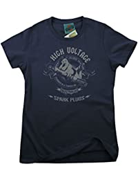 Bathroom Wall AC/DC Inspired High Voltage Spark Plugs, Women's T-Shirt