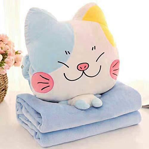 HSDDA 3-in-1-Klimagerät Steppdecke Schlafkissen Klimaanlage Decke Plüsch Cartoon Kissen, Plüsch, Blau/Weiß, 160x110cm