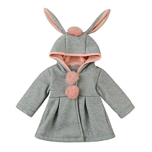 Bekleidung Hirolan Säugling Mädchen Herbst Winter Lange Hülse Mit Kapuze Mantel Baumwolle Mantel Mode Jacke Dick Warm Oberbekleidung Kleider Bälle im das Vorderseite (70CM, Grau) (Multi-print-bluse)