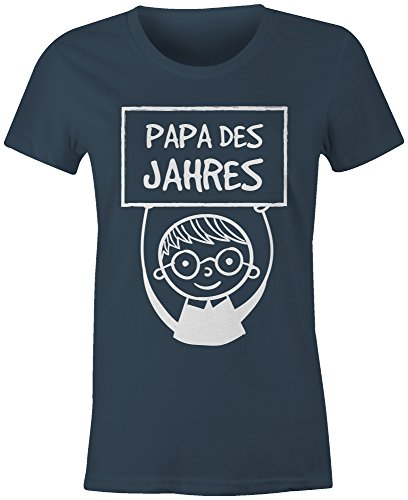 Papa des Jahres ★ Rundhals-T-Shirt Frauen-Damen ★ hochwertig bedruckt mit lustigem Spruch ★ Die perfekte Geschenk-Idee (03) dunkelblau