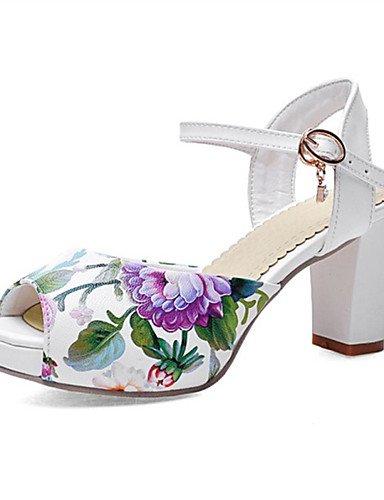 LFNLYX Chaussures Femme-Mariage / Habillé / Décontracté / Soirée & Evénement-Bleu / Rose / Blanc-Gros Talon-Talons-Sandales-Similicuir Blue