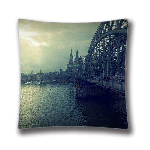 Pop Home personnalisés décoratifs Koln pont Housse de coussin Coton et polyester Taie d'oreiller carrée 45,7x 45,7cm