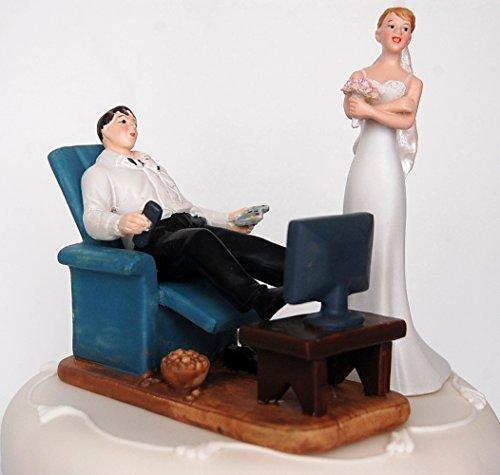 DreamWedding-UK Novia y Novio para Tarta de Boda, diseño Sentado/de pie Inusual Divertida Pareja para Celebraciones de Bodas, Resina Artificial, número 22, 5x 12x 12cm