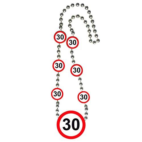Geburtstagskette mit Medaillon 30er Geburtstag Kette Verkehrsschilder Partykette Halskette Geburtstagskind Party Zubehör Jubiläum Zahlenkette Geburtstagsgag Verkehrsschild