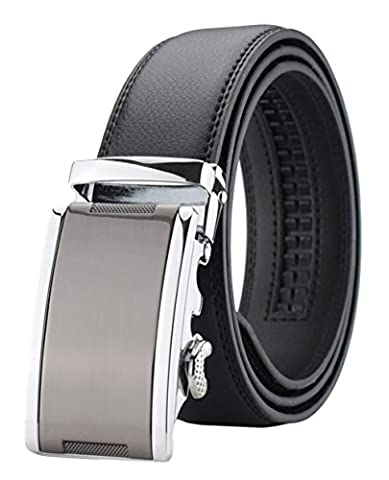 QISHI YUHUA PD Men's Fashion trends Black Large Cowhide Leather Belt Automatic Buckle Belt